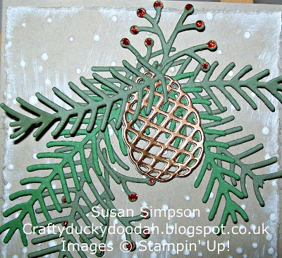 Stampin' Up! Susan Simpson UK Independent Stampin' Up! Demonstrator, Craftyduckydoodah!, Christmas Pines, Pretty Pines Thinlets, Softly Falling TIEF, Supplies available 24/7,