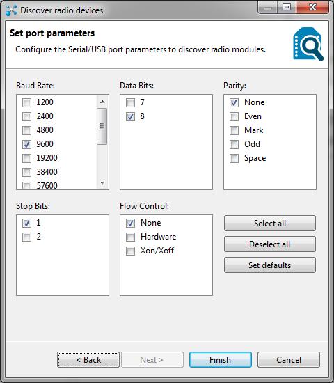 XCTU - Parametros da porta serial