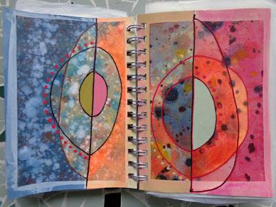 drawings paintings colourful circles sketchbook verna vogel steel sky woman