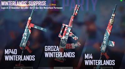 Free Fire baru saja mengadakan event terbarunya lagi Winterlands Surprise. Dalam event ini player bisa mendapatkan 3 skin senjata secara gratis. Berikut penjelasan Event Free Fire Winterlands Surprise.