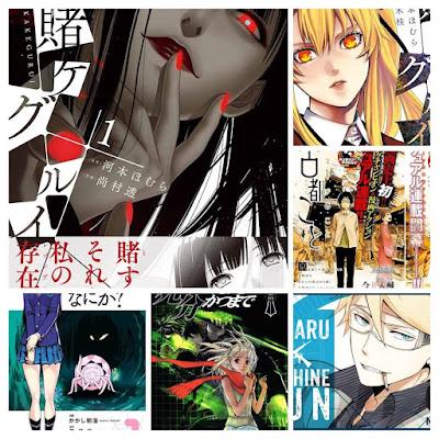 """Kakegurui"", de Homura Kawamoto y Toru Naomura (serie abierta) ""Kakegurui Twin"", de Homura Kawamoto y Kei Saiki (serie abierta) ""Until Death Do Us Part"", de Hiroshi Takashige y DOUBLE-S (25 volúmenes) ""Aoharu x Machine Gun"", de NAOE (9 volúmenes) ""Kumo desu ga, Nani ka?"", de Okina Baba y Asahiro Kakashi (serie abierta) ""Adam to Eve"", de Hideo Yamamoto (serie abierta) ""Historias de Kioto - A propósito de Yukichi', de Daisuke Imai (3 volúmenes) ""Historias de Kioto - A propósito de Chihiro"", de Daisuke Imai (3 volúmenes) ""Holiday Junction"", de Keigo Shinzo (número único) ""Avatares de una espada memorable/Partitura para un castillo caído"", de Hiroshi Hirata"