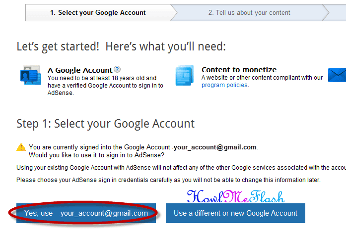 create a google adsense account