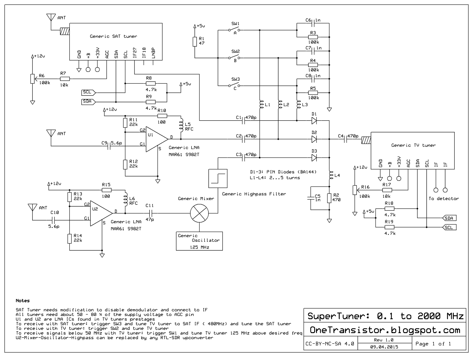 Tuner connection for HF-VHF-UHF-and above (schematic)