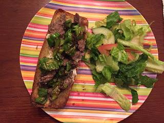 beef Shishito tomato cucumber romaine lettuce salad