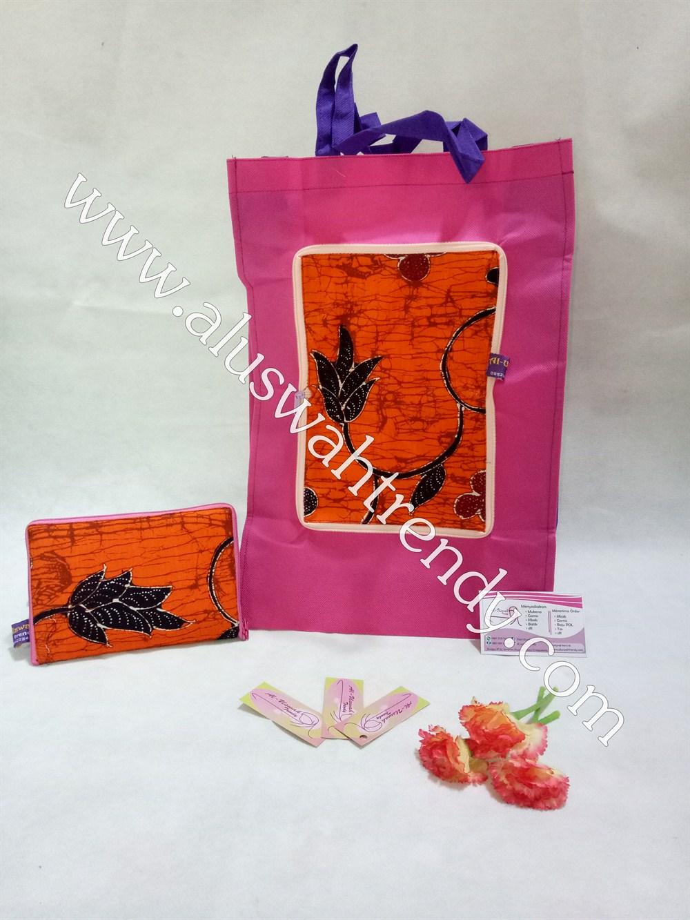 Tas Belanja Lipat Pink Motif Batik 013