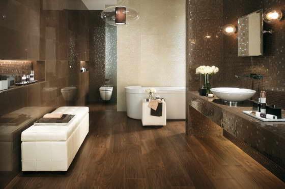 20 banheiros decorados com revestimento que imita madeira for Imagenes de pisos decorados