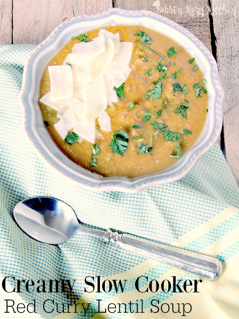 Slow Cooker Red Curry Lentil Soup - A hearty warm, luxurious, tummy hugging soup, with just a hint of curry spice to tantalize your tastebuds from www.bobbiskozykitchen.com