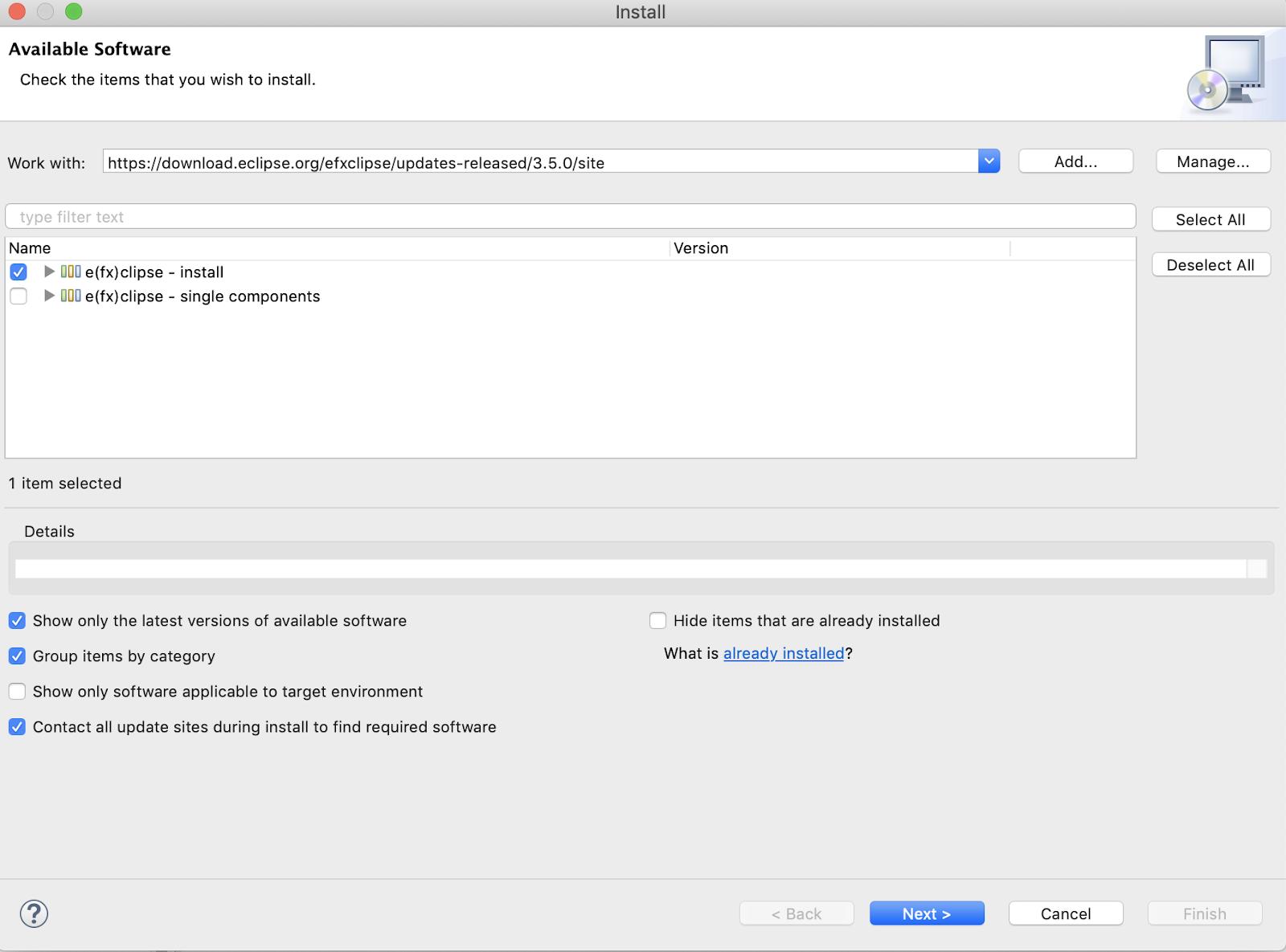 My Tech Notes: JavaFX Development: Install e(fx)clipse