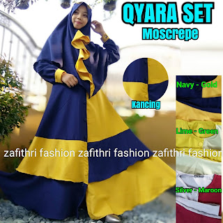 gamis set umbrella 2 tone bahan moscrepe