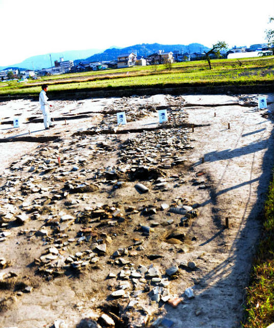 Roof-tiles with flower patterns found in Japan's Hachiya ruins