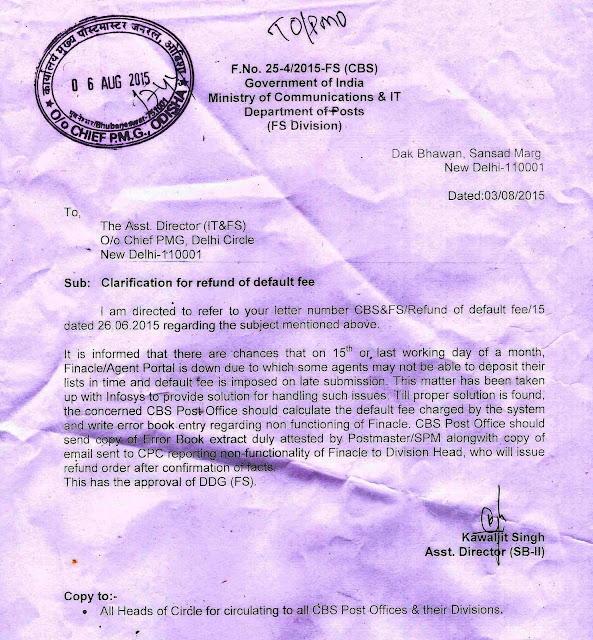 Clarification For Refund Of Default Fee In CBS Post Office