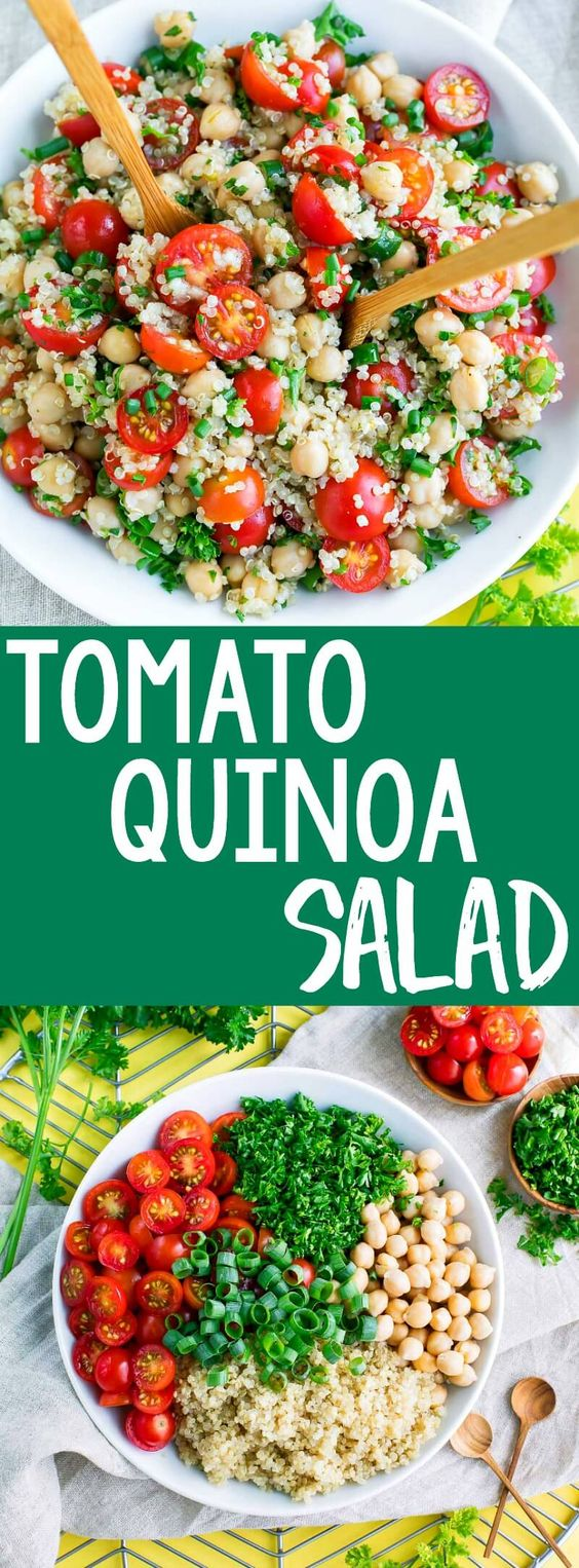 It's time to add another tasty quinoa recipe to our meal prep game! This Tomato Quinoa Salad is fast, flavorful, and easily made in advance for speedy lunches and sides for work, school, or home!