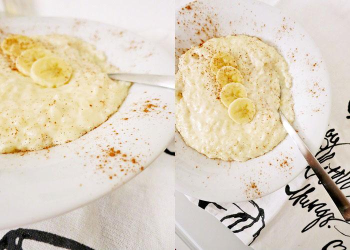 Cremiger Milchreis mit Bananen