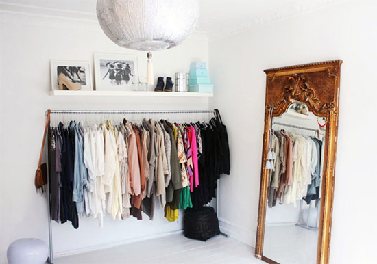 A simple kind of life clothes on display tips storage - Room with no closet ...