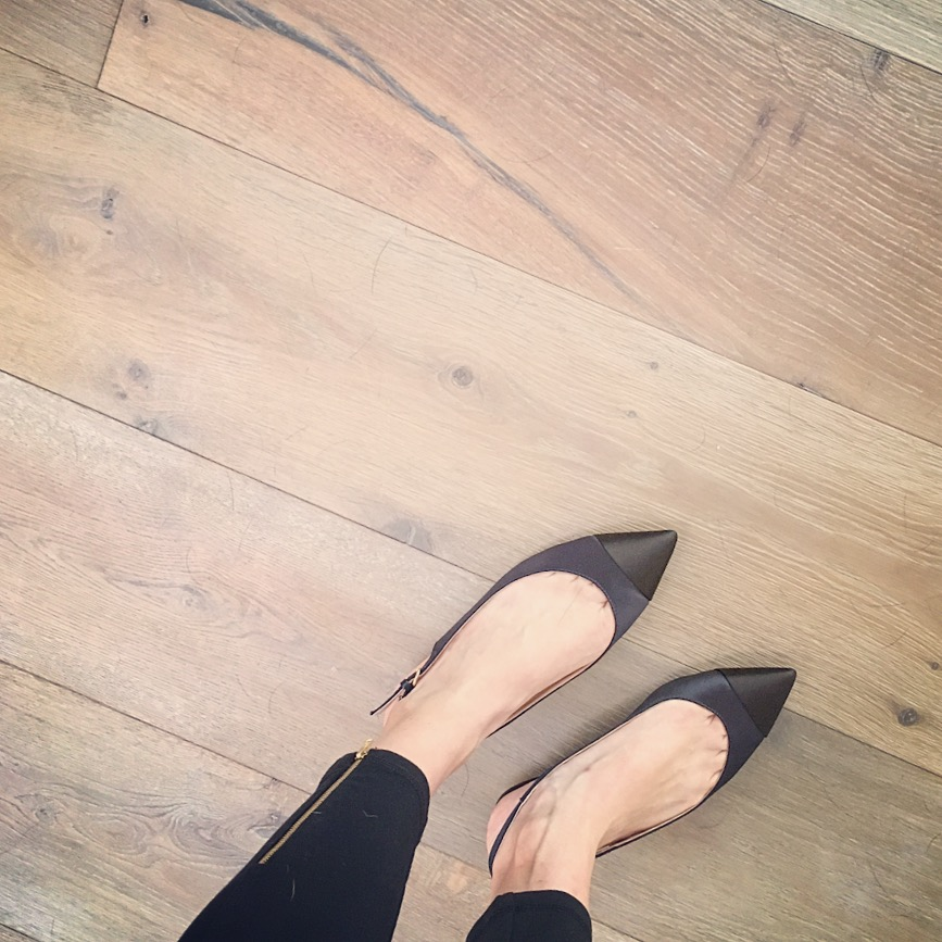 black and navy flats