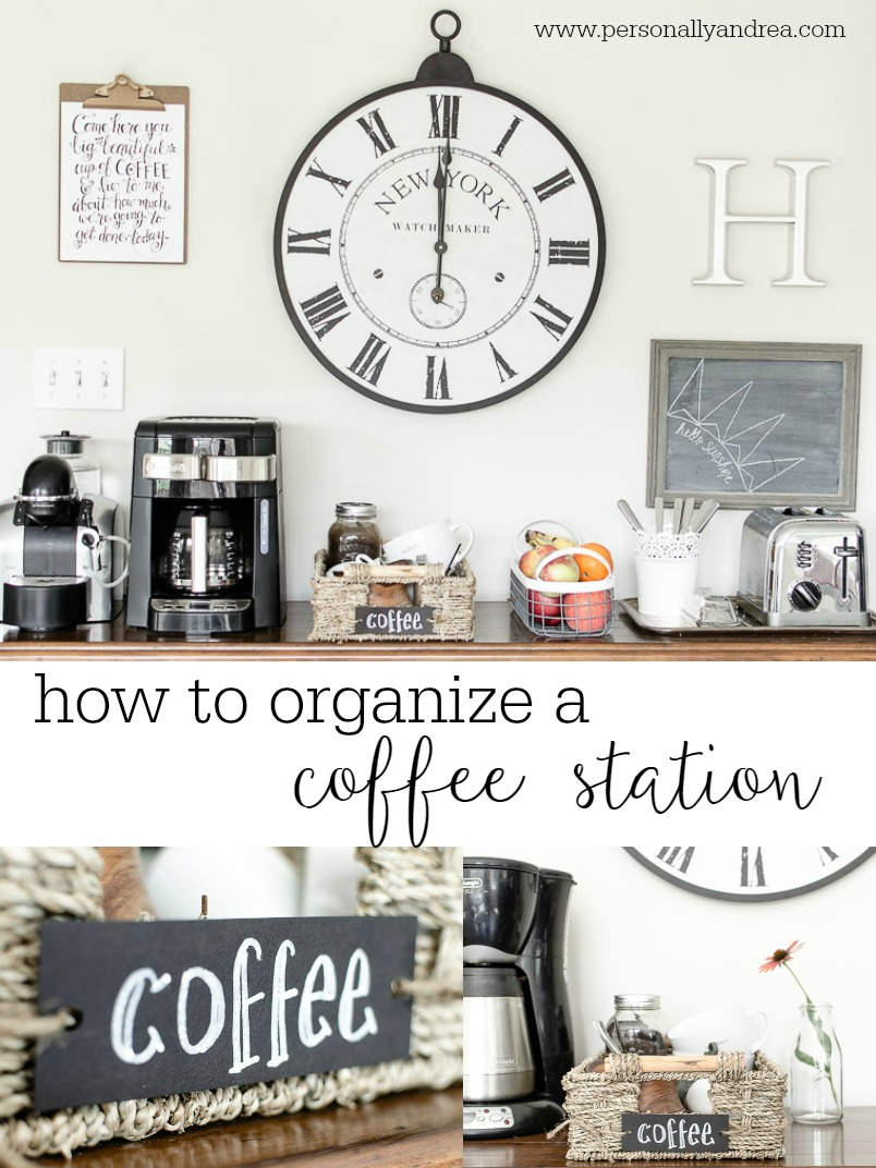 How to Organize a Coffee Station.  Shop your home to corral coffee essentials close to the coffeemaker.  Via personallyandrea.com