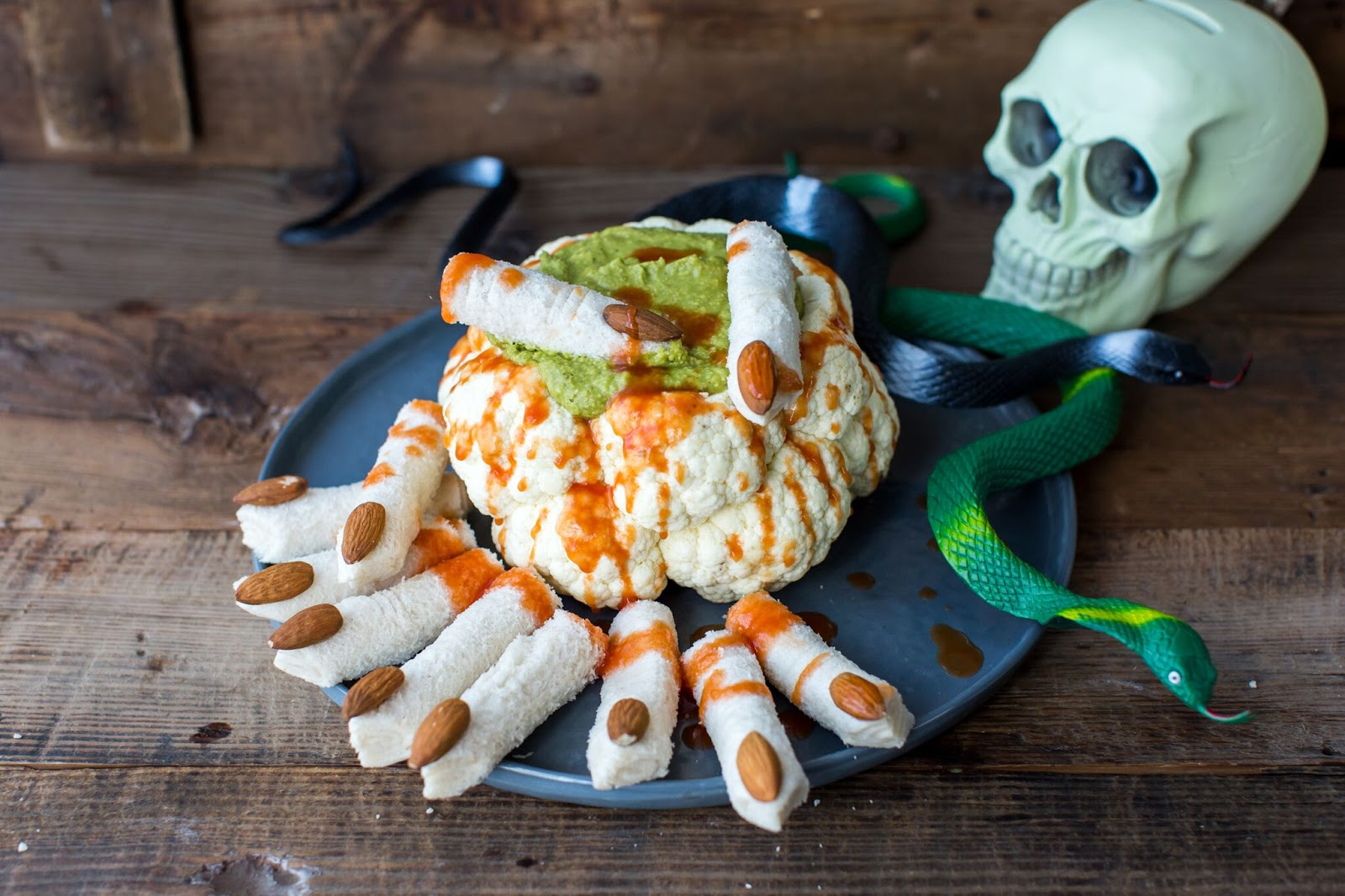 Roasted Cauliflower Brain With Green Slime Hummus And Dead Man's Finger Sandwiches