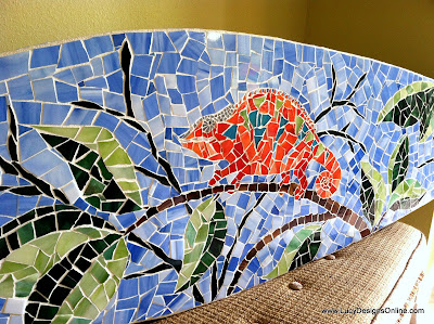 mosaic surfboard leaves and chameleon