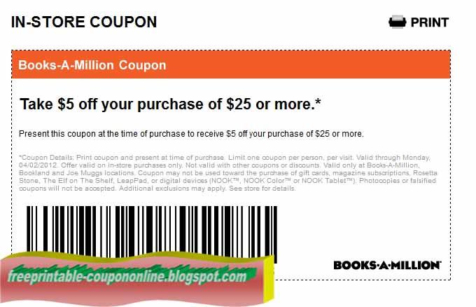 Books a million coupons printable 2018