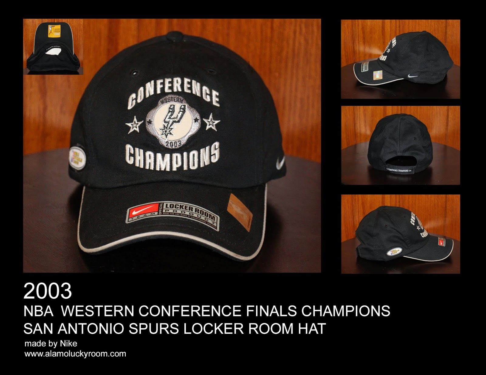 3dec4fa3bcb 2003 San Antonio Spurs NBA Western Conference Finals Champions Locker Room  Hat