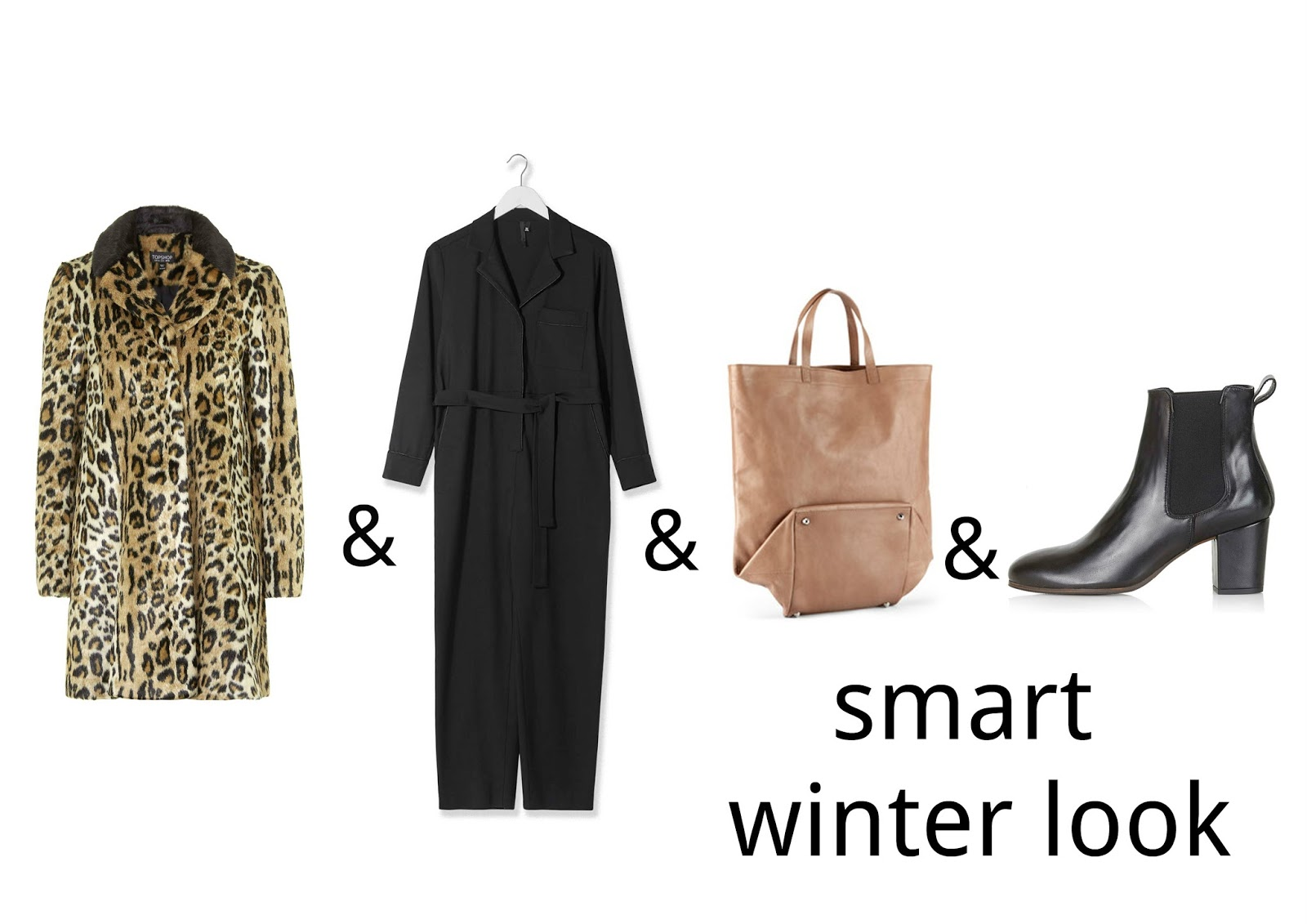 fashion maths, topshop, topshop boutique, topshop chelsea boots, jumpsuit, faux fur coat, leopard print, maison martin margiela for H&M bag