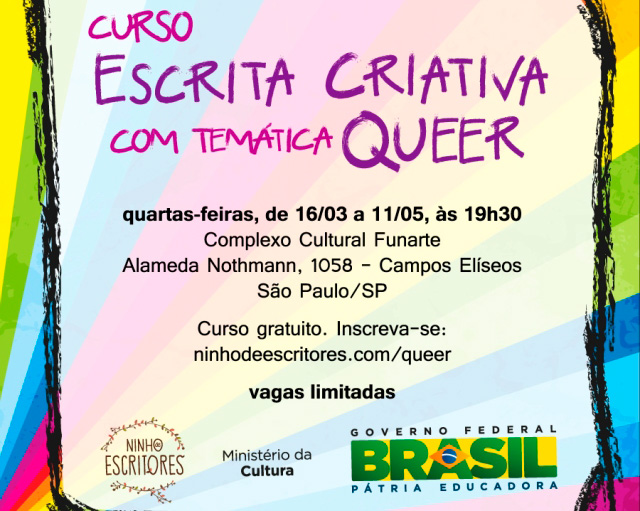 Cartaz Curso Escrita Criativa Temática Queer