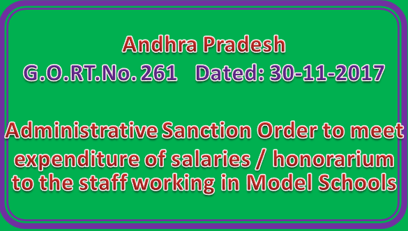 GO 261 || Administrative Sanction Order to meet expenditure of salaries / honorarium to the staff working in Model Schools