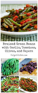 Braised Green Beans with Garlic, Tomatoes, Olives, and Capers [from KalynsKitchen.com]
