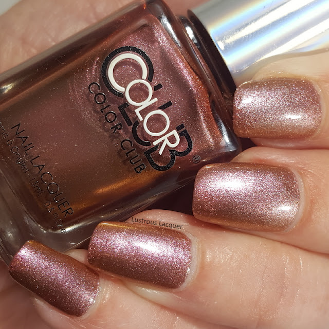 pink to gold shifting duo-chrome nail polish with hints of copper