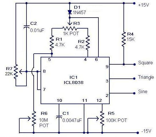 ELEX IDEA BLOG: Funcation Genrator Circuitusing IC 8038