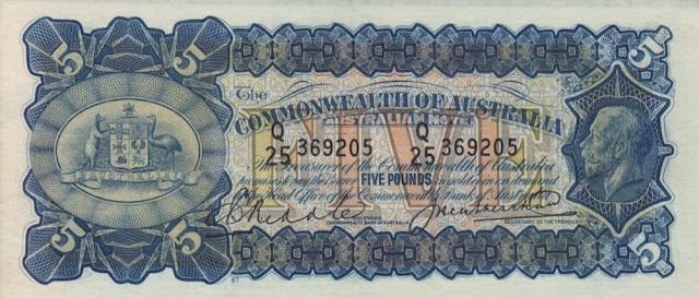 Australia 5 Pounds banknote 1928 King George V