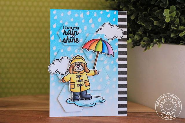 Sunny Studio Stamps: Rain Showers Rain Or Shine Card by Eloise Blue