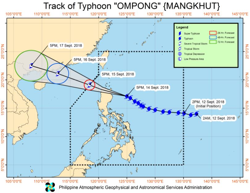 track of Typhoon Ompong