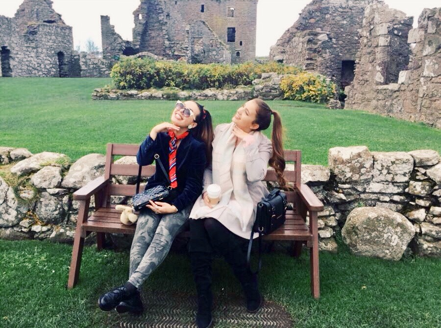 Girls at Dunnottar Castle Stonehaven