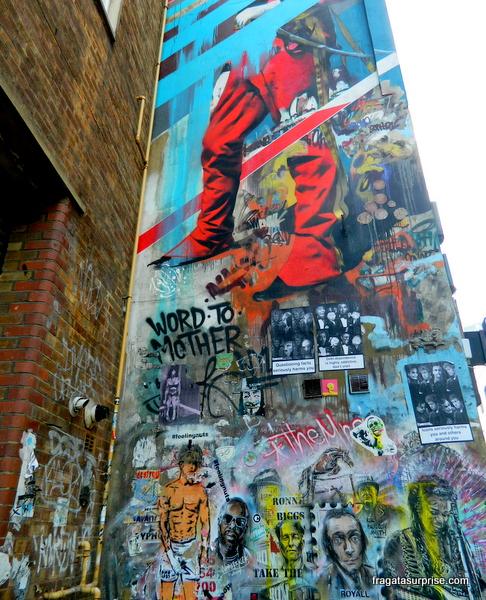 Londres - grafite no bairro de eBrick Lane