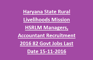 Haryana State Rural Livelihoods Mission HSRLM Programme Managers, Accountant Recruitment 2016 82 Govt Jobs Last Date 15-11-2016