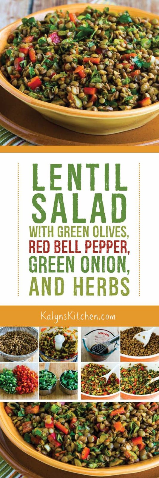 Lentil Salad with Green Olives, Red Bell Pepper, Green Onion, and ...