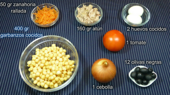 Ensalada de garbanzos. Ingredientes