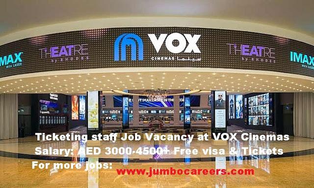 Ticketing Staff Jobs at VOX Cinemas Dubai with Free Visa & Air tickets + Salary-AED 4500