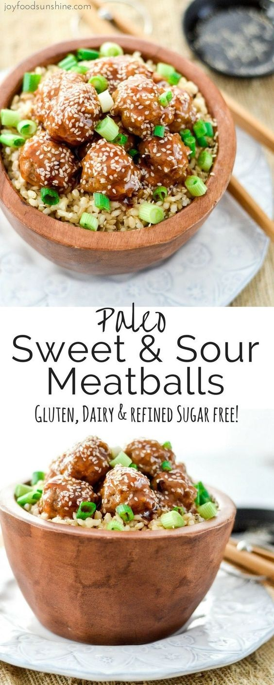 Healthy Paleo Sweet and Sour Meatballs