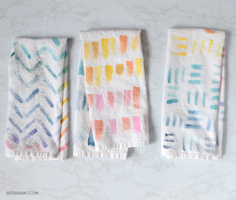 diy flour sack towels watercolor painted