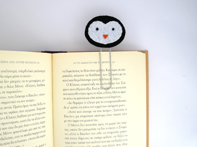 felt penguin bookmark