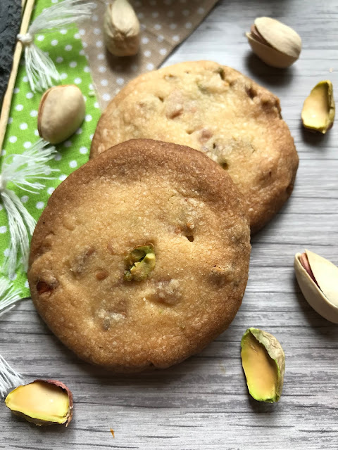 galletas de chocolate blanco y pistachos receta