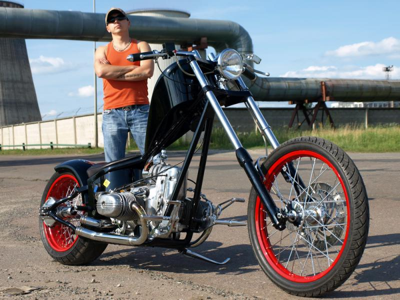 an old-school chopper built from a Ural motorcycle