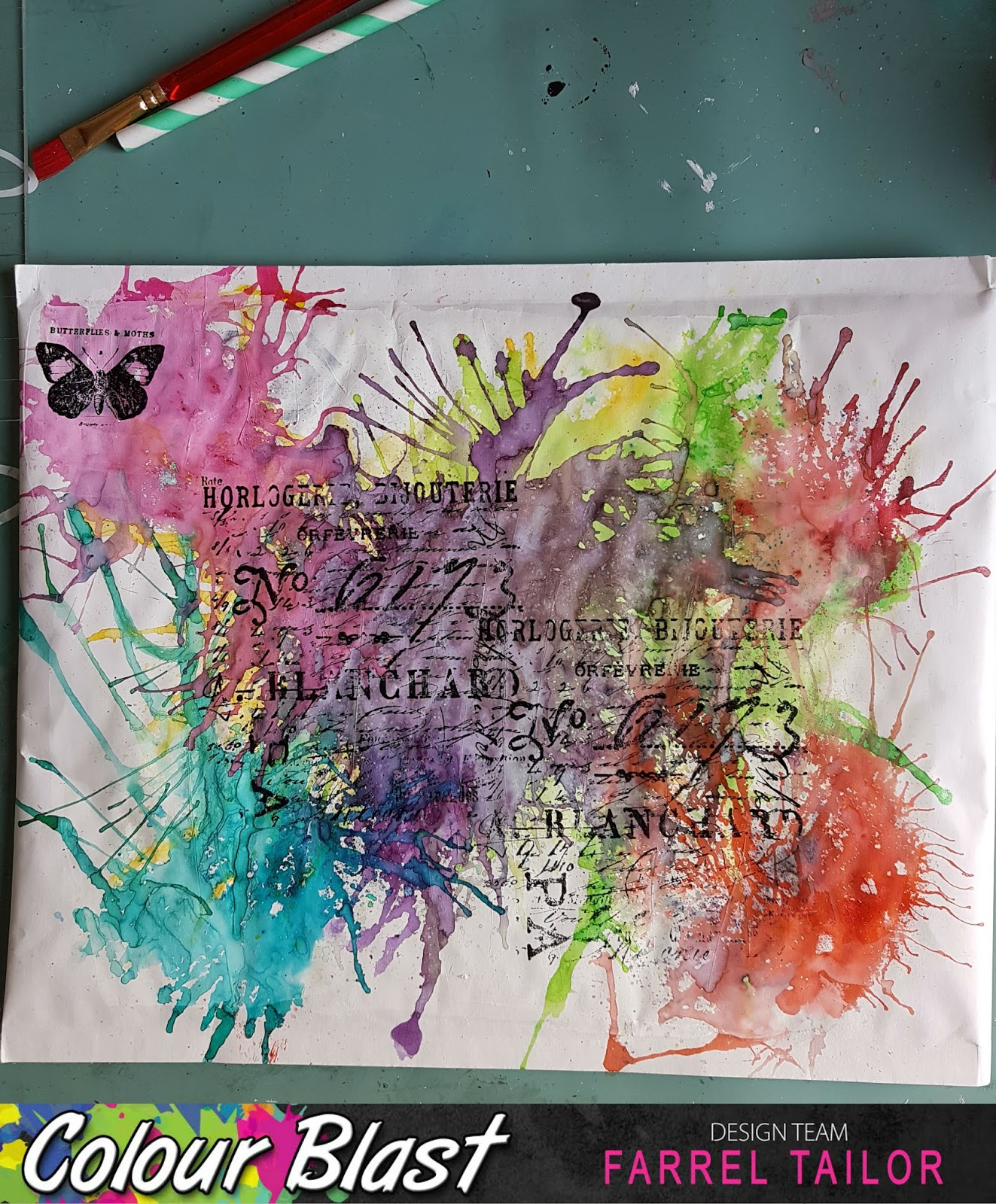 I felt like it was missing something...I know it looks really busy but it  seemed a little flat to me so I decided to splatter using Colour Shimmer  Cube ... bfecc159f