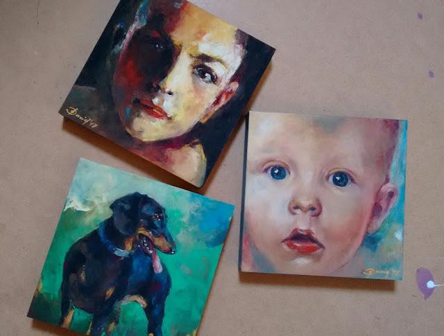 100 Porträts Projekt , Beispielbilder Kunstmalerei Olga David