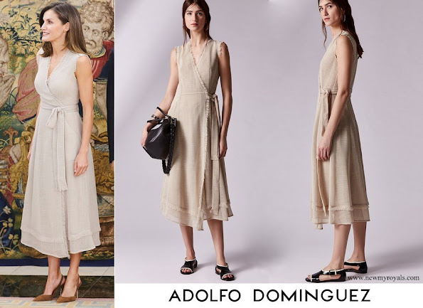 Queen Letizia wore an ecru wrap dress by Adolfo Dominguez
