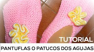 Patucos o Pantuflas Super Fáciles tejidas con Dos Agujas / Tutorial