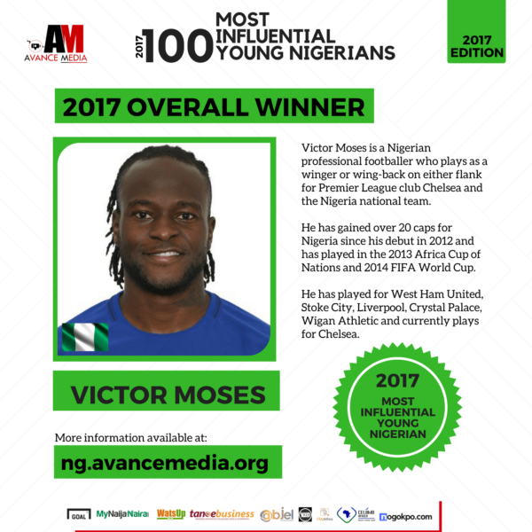 Victor Moses Chose As The Best Young Nigerian Avance Media | See Complete List