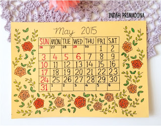 may calendar, kalender mei, bulan mei, diy calendar, buat kalender sendiri